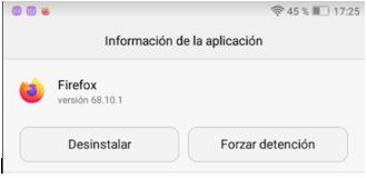 Imagen de la versión de Firefox de la víctima.